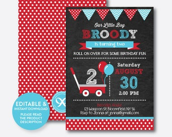 Instant Download, Editable Red Wagon Birthday Invitation, Wagon Invitation, Wagon Party Invitation, Red Wagon Invitation,Chalkboard(CKB.184)