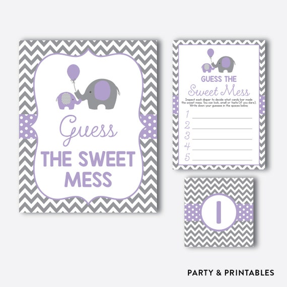 Instant Download Elephant Guess The Sweet Mess Game Elephant