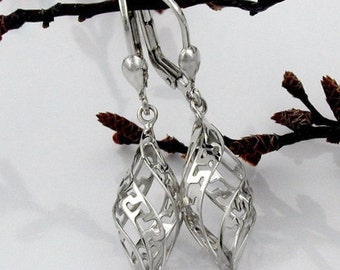 Drop earrings, rhodium plated, 925 silver