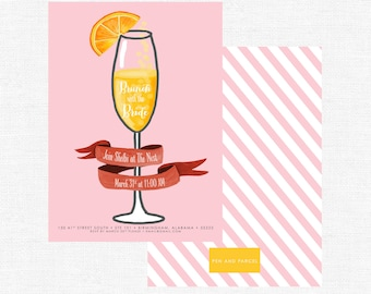 Brunch with the Bride-pink stripe bubbly champagne and mimosas- Bridesmaids Luncheon, Bridal Shower or Brunch-FREE SHIPPING or DIY printable