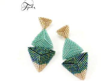 Sea - beaded stud earrings