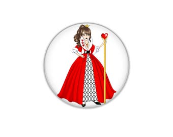 Queen Of Hearts Pinback Button or Magnet