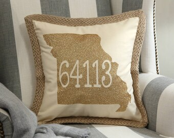 Missouri Zip Code Pillow Cover featuring the state of Missouri, Zip Code Pillow Cover, State Pillow