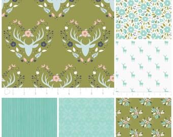 Woodland Fabric - Fat Quarter Bundle -Green Woodland Fabric Bundle - Modern fabric - Quilt Fabric - Includes 6 Fat Quarters
