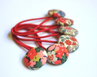 Liberty of London Hair ties, fabric button hair elastics in Liberty florals 23mm buttons