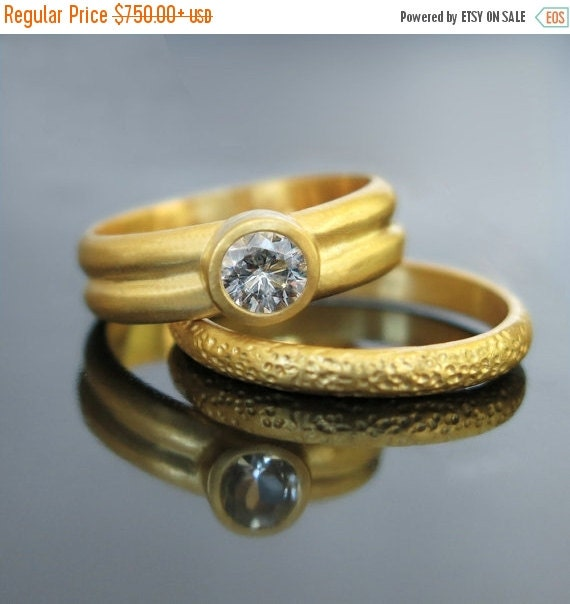 ON SALE Moissanite engagement ring set by RAVITKAPLANJEWELRY