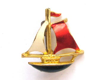Sail boat, Brooch, Rare Badge, Vintage collectible badge, Pin, Russian, Soviet Union, Made in USSR, 1980s