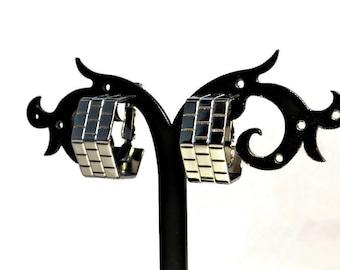 Hexagon Hoop Earrings, Silver Hoop Earrings, Hoop Clip Earrings, Thick Hoop Earrings, Brick Earrings, Brick Jewelry, Vintage Hoop Earrings