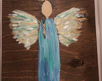 Earth Angel my Guardian Dear, hand painted Angels, Personalised Guardian Angel, child's room, Memorial, blue gold black hair green
