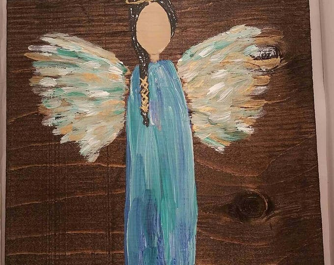 Featured listing image: Earth Angel my Guardian Dear, hand painted Angels, Personalised Guardian Angel, child's room, Memorial, blue gold black hair green