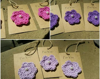 Hand crocheted gift tags. Handmade packaging
