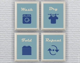 INSTANT DOWNLOAD Laundry Wall Art, Wash Dry Fold Repeat, Laundry printable, Laundry room decor, Retro colors, Retro Wall art Set of 4, 8x10