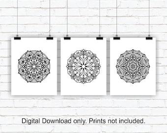 Black and White wall decor, Black Mandala Medallion Wall Art Prints Set of 3, 8x10, Mandala Medallion INSTANT DOWNLOAD