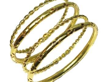free shipping 14 k gold vermeil bangle, braided bangles, holo filigree bangles, stacking bangles, patterned bangle bracelet, size 2,6