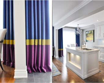 "Custom Combo Drapes ""Block style"", Grommet Panel, Bright Tones, Geometric coloured drapes, Drapery Panels, Made-to-Order"