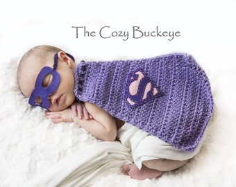 Newborn Supergirl Cape and Mask Set Superman Cape Crochet Photography Prop Purple and Pink