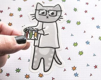 Cute Cat Vinyl Sticker, Scientist Kitty, Cute Sticker, Car Sticker, Bumper Sticker, Laptop Decal, Skateboard Sticker, Nerdy Sticker