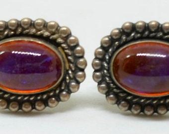 Vintage Sterling Silver & Dragon's Breath Earrings