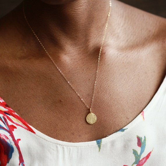Gold Coin Necklace, Minimalist Necklace, Simple Gold Necklace, Gold Charm, Layering Necklace, Dainty Gold Necklace, Gold Circle Necklace