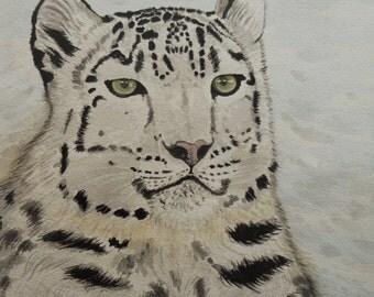 Snow Leopard Painting, Snow Leopard Watercolour, original watercolour painting, snow leopard, large signed art.