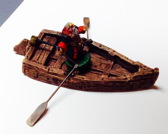 Rowboat with Oars, Handpainted  28mm Scale