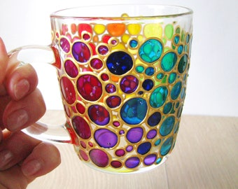 Bubbles Coffee Mug  Sun catcher Hand painted Multi Coloured Bubbles Mug  Painted Glass mug