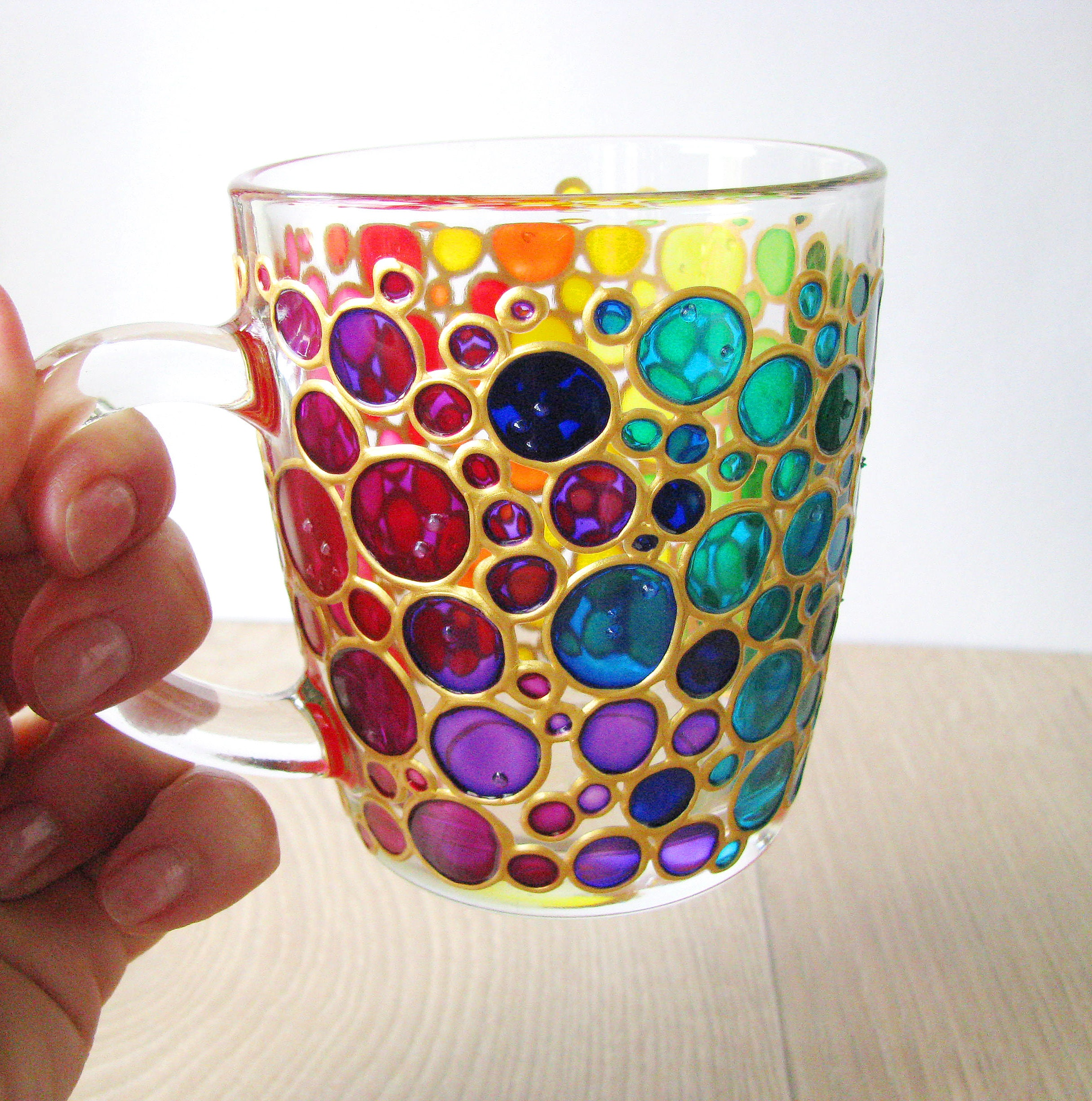8375f8f7ce2 Bubbles Coffee Mug Sun Catcher Hand Painted Multi Coloured