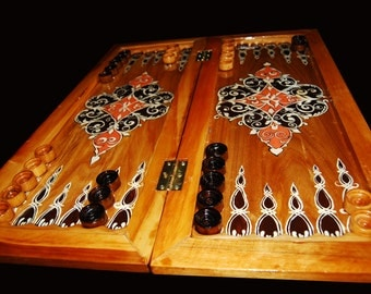 Backgammon hand painted arabic ornament wooden backgammon handwork eco wooden table game gift for him natural wood gift idea wooden board