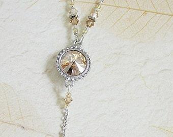 Gold Crystal Pendant, Golden Rivoli Crystal Necklace, Crystal Drop Pendants, Crystal Jewelry, Gold Shadow Crystal Pendant, Wedding Jewelry