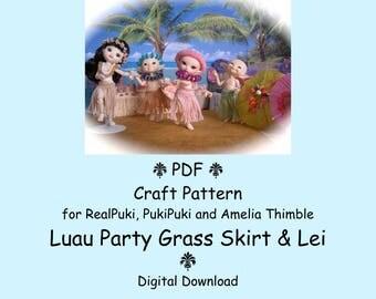 PDF Luau Party Grass Skirt & Lei Crochet Pattern for mini BJD RealPuki, PukiPuki and Amelia Thimble