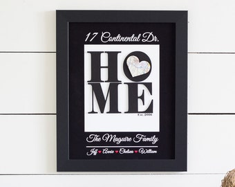Housewarming Gift, New Home Address Art, New Home Gift, Map Art, Realtor Closing Gift, Paper Art, New House Personalized Art, Framed