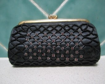 Vintage Black Beaded Coin Purse - 1950's - Made in Hong Kong