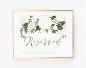 Printable Wedding Sign, Reserved Sign, Vintage Wedding, Vintage Sign, Vintage Floral, Reserved Wedding Sign, Printable Reserved Sign #CL112