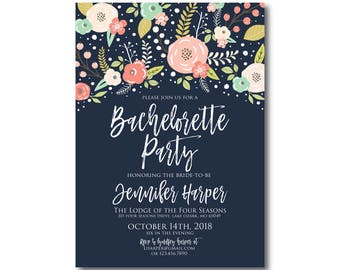 Floral Bachelorette Party Invitation, Boho Invitations, Bachelorette Party, Floral Wedding, Boho Chic Invite, Chic Invitations #CL324