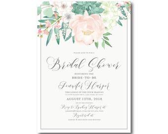 Vintage Floral Bridal Shower Invitation, Floral Invitation, Vintage Floral, Floral Wedding, Vintage Wedding, Bridal Shower Invitation #CL180