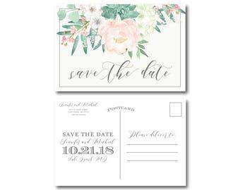 Vintage Floral Wedding Save the Date, Vintage Floral, Save-the-Date, Floral Wedding, Vintage Wedding, Save the Date, Wedding Postcard #CL180