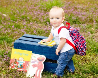 Monogrammed Toddler Baby Backpack - Mini Satin Microfiber Red and Navy Diamond Pattern Napsack - Embroidered Personalized Name or Initials