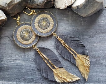 Grey leather earrings. Feather earrings. Long boho earrings. Bohemian tribal earrings. Leather feather earrings. Bohemian leather jewelry.