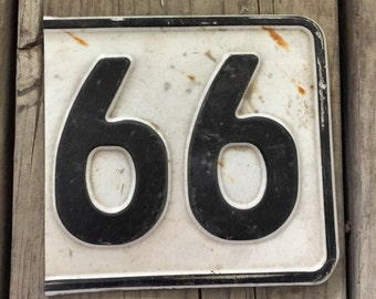 66 Cut-out from European license plate - Vintage Recycled