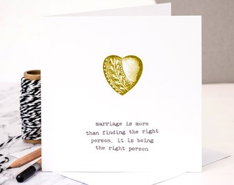 Wedding Anniversary Card; Golden Wedding Anniversary Card; Love Heart Card; Golden Wedding; Wedding Card; GC038