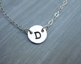 Initial Necklace Hand Stamped Sterling Silver Personalized Jewelry Monogram Necklace Teen Jewelry Mothers Necklace Bridesmaid Gift