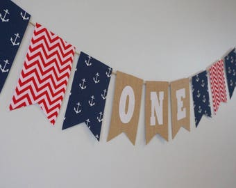 Red White & Blue Nautical First Birthday ONE Banner Decor/ Photo Prop