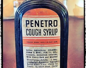 Vintage Penetro Cough Syrup Medicine Bottle Chloroform