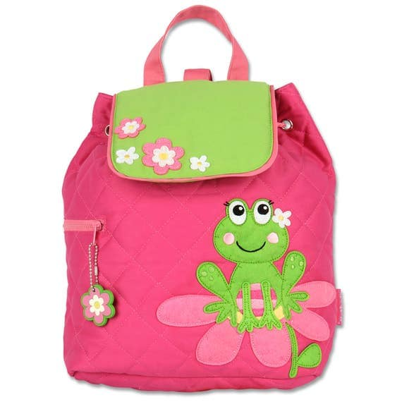 Toddler Stephen Joseph Quilted Girl Frog Backpack, Children's Girl Frog Backpack, Kids Backpack, Back to School, FREE PERSONALIZATION