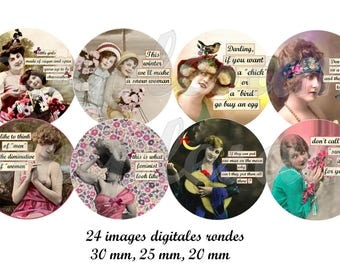 Digital Collage Sheet, Circle images, Feminist Women 3 Sizes  Instant Download