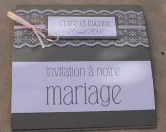 Invitation lace range | marriage gray/white / pale pink |
