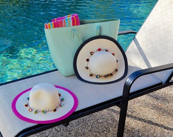 Navy or Pink Floppy Beach Hats with Multi-Color Pom-Poms