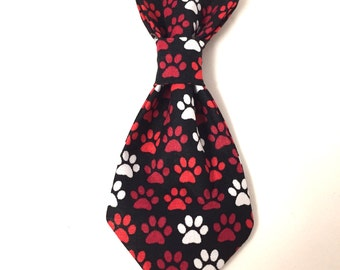 Dog neck tie, dog paw neck tie, black neck tie, red neck tie, over the collar neck tie, handmade neck tie, puppy neck tie, Christmas gift