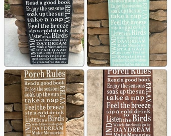 Porch Rules Wooden Sign, Porch Rules Subway Art Sign, Housewarming Sign, Custom Porch Rules Sign