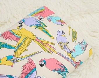 100x140cm Colorful Parrot Cotton Canvas Fabric